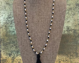 Beaded tassel necklace / Black gold and white beaded tassel necklace / Black tassel necklace