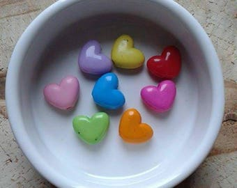 8 assorted color heart beads