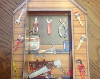"Card 3D ""birdhouse tools"" - for any occasion - handmade"