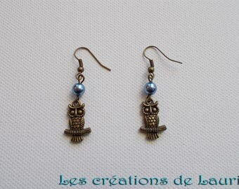 Earrings small owls, bronze and dark blue