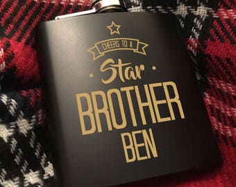 Personalised Star Brother Hip Flask - Gift Ideas for Brother, Presents for Brother, Custom Liquor Flask, Gift Ideas for Guys, Hip Flask Set.
