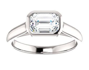 Forever One Moissanite Engagement Ring- Rosalyn | emerald | moissanite solitaire engagement ring