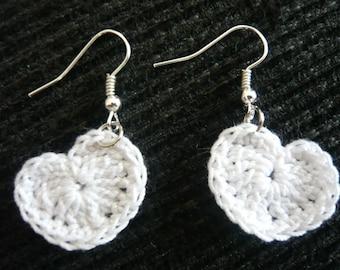 White crochet heart earrings