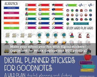 Digital Stickers for digital planners Kids school academics -GoodNotes Digital Planners  IPad  includes pre-cropped GoodNotes file
