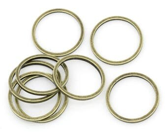 4 12 mm jump rings / connectors / closed antique bronze