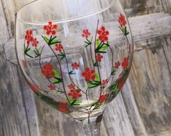 Large Gin Glass. NEW DESIGN!! 'Rambling Rose' unique hand painted and dishwasher safe beautiful Glasses. 645ml