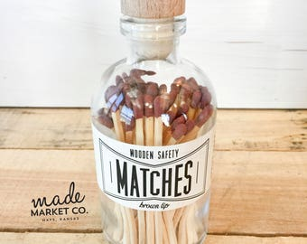 Brown Tip Colored Matches. Match Sticks Decorative Glass Bottle. Farmhouse Home Decor. Unique Gifts for her. Best Seller. Most Popular Item