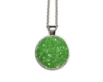 Druzy pendant necklace, green Druzy, Druzy necklace, druzy jewelry, under 20 dollars, geode, geode necklace, silver pendant, geode jewelry
