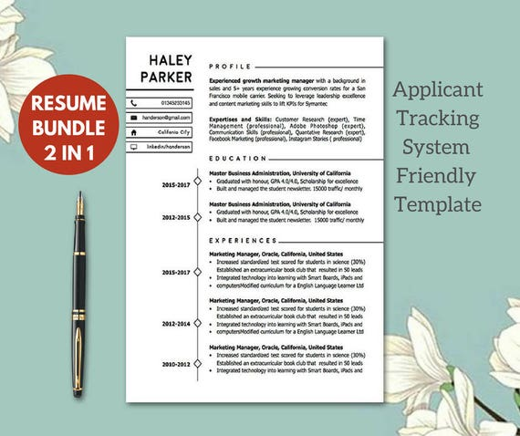 Modern ATS  Friendly Resume Templates | Resume Template Instant Download |  CV Templates Cv Malli | 1 2 Page Modern Resume Cover Letter  Ats Friendly Resume