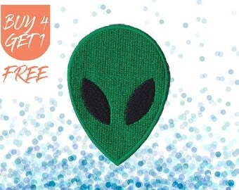 Alien Head Patch ET Patches Iron On Patch Embroidered Patch Celestial Green Alien