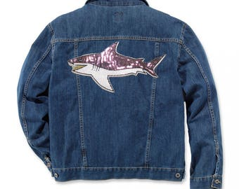 Shark Sequin Patches Large Iron On Patch