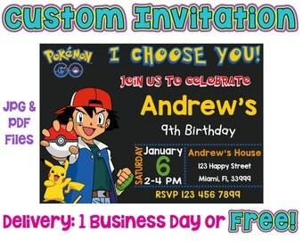 Customized Pokemon Invitation, Printed Pokemon Invitation, Pokemon Birthday, Pokemon Go Invitation, Pokemon Printables, Pokemon Custom jpg