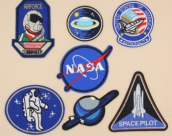 set of 7 pcs,NASA Patch,Astronaut Patch,Spacecraft Patch,Planet Patch,Airforce Patch,iron on Patch set, embroidery patch,space patch,patches