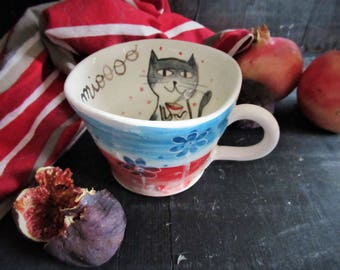 Cup with handmade ceramic handle with cat illustration