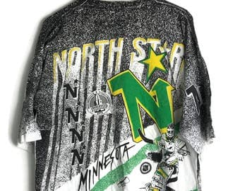 Vintage NHL Minnessota North Star Fullprint Allover Single Stiches T Shirt 1991 Stanley Cup Ice Hockey Size Large
