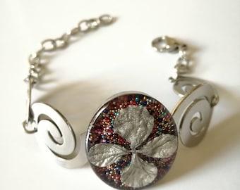 Bracelet in steel and pearls