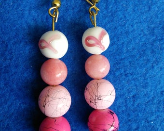 Pink ribbon beaded earrings