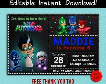 Pj Masks Invitation, Pj Masks Invitation Instant Download, Pj Masks Editable, Pj Masks Editable Invitation, Pj Masks Thank You Tags