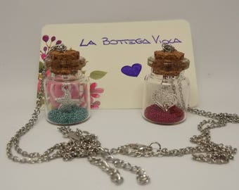 """Necklace """"Starfish"""" and """"In Love"""" chain choker silver pendant bottle glass Micro pearl blue red Starfish Heart"""