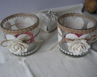 Lanterns shabby pair of glass and linen