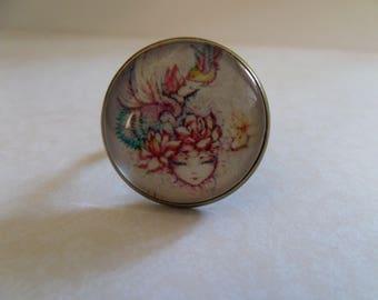Cabochon glass * bird girl * 20 mm