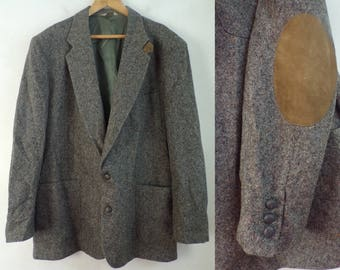 80s Gray Wool Brown Elbow Patch Blazer Mens Size 48L, Gray Wool Blazer, Elbow Patch Blazer, Classic Blazer, Gray Blazer, Speckled Blazer,80s