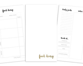 Personal Food Diary Printable Insert - TN/Ring Planner - Plain Cover