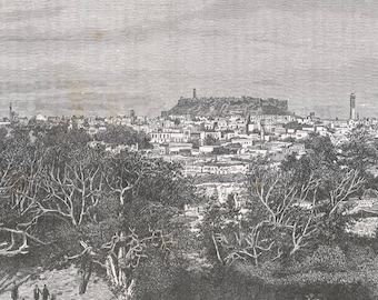 Castle and City of Aleppo, Syria 1889 - Old Antique Vintage Engraving Art Print - Forest, Trees, Branches, Houses, Dome, Pillar, Men
