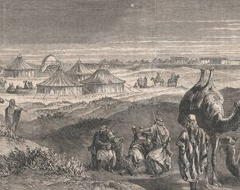 Toosomvill, near Timsah, on the road to Suez, Egypt 1864 - Old Antique Vintage Engraving Art Print - Camels, Men, Soldiers, Rifles, Swords