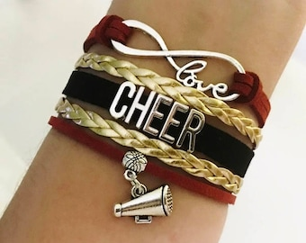Cheer bracelet, Cheerleader gift, Cheer Mom jewelry, Cheer Coach gift, Cheer squad bracelet, Infinity cheer bracelet, Maroon/Gold/Black