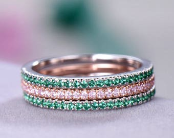 3pcs Half eternity wedding band Thin Pave Wedding ring sets sterling silver with white/rose gold plated Pink / Green CZ Cubic Zircon 925
