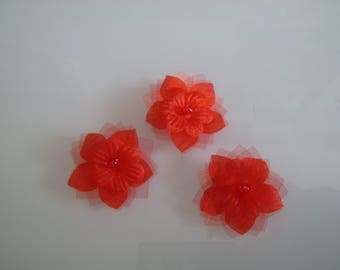 Set of 3 red flowers to sew/stick on dress with jewel bridal/wedding/party or decoration/decor/scrapbooking/creative (cheap)