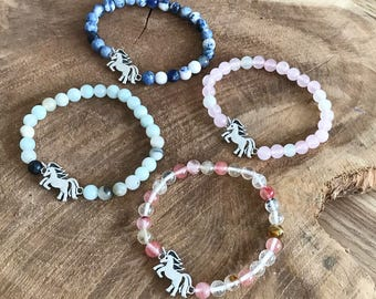 Unicorn and natural stones bracelet