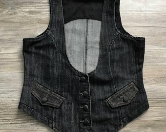 Vintage denim vest, black denim, jeans vest, vest