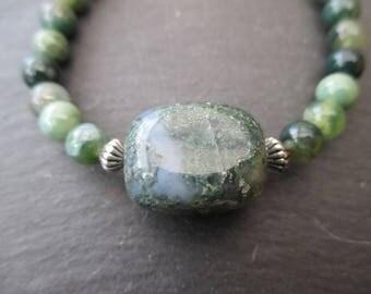Bracelet in mossy green agate - ref 939