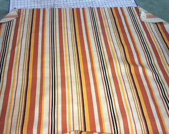 Vintage New Old Stoc Fabric Rust colored Stripes 1 Yard 18 Inches Total