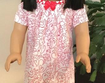 "Valentines dress for 18"" dolls"