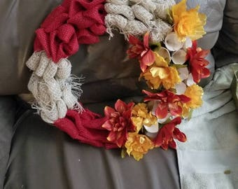 Burlap, wood curls, red and gold wreath