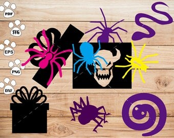 Halloween spider svg Files,  Snake svg, Gift Box Clipart, cricut, cameo, silhouette cut files commercial use
