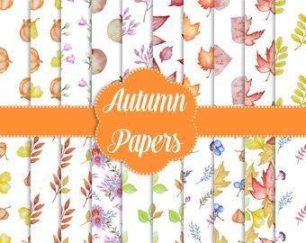 "20 Autumn Pattern Digital Papers 12"", Autumn Digital Papers, Pattern Digital Papers, Watercolor Paper, Digital Image Pack"