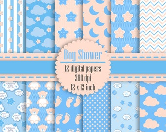 12 Baby Boy Shower Digital Papers in 12 inch 300 Dpi Instant Download, Scrapbook Papers, Kid Digital Papers, Commercial Use