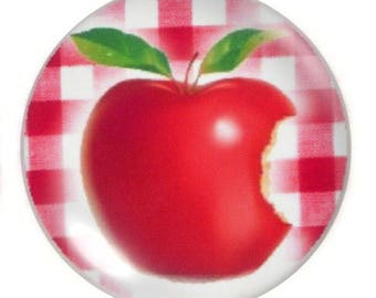 Set of 2 Apple round glass cabochons 30mm