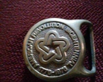 American Revolution Bicentennial Brass Belt Buckle