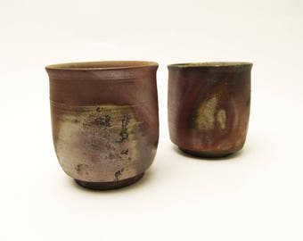 Bizen-ware.Pair Yunomi/Tea cups.Wood Fired pottery.Vintage Japanese Pottery.stoneware.Made by Yasuhiro Ishida.#yn37