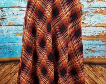 70s full circle plaid wool skirt.