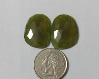 Vesuvianite Rose cut slice Pair/Fancy shape  rose cut slice pair/Cabochon Slice/natural Vesuvianite/Cabochon rose cut/Earring slice pair
