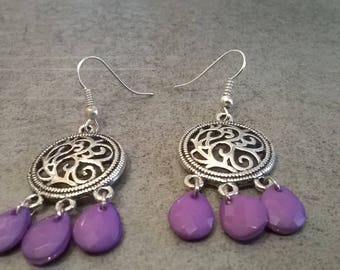 Handmade earrings with drops parmes