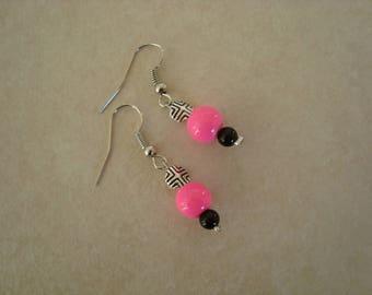 Fancy Pink Silver Black earrings