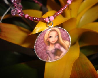 Princess necklace purple pink girl