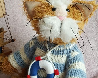 "Teddy cat ""Cook"" Artist Stuffed Animal & Plushies 100% Handmade 23 cm"